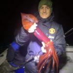 Totano cosiddetto diavolo rosso pescato con totanara